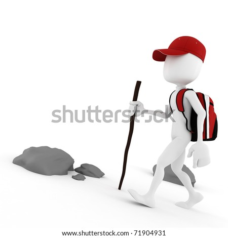 3d man tourist with a big red backpack climbing on a mountain - stock photo