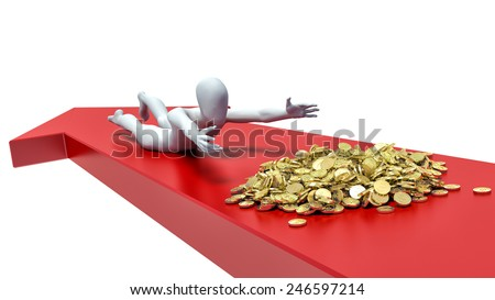 3d man trying to grab the pile of gold - stock photo