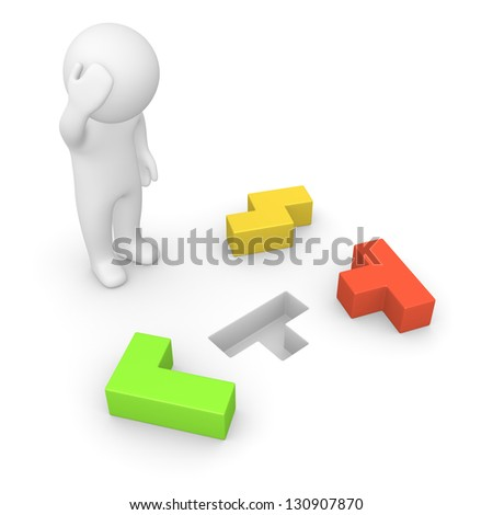 3d man trying to solve problem. Computer generated image.