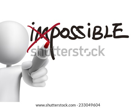 3d man turning the word impossible into possible over transparent board - stock photo