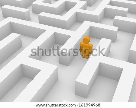 3d man walking in labyrinth - stock photo