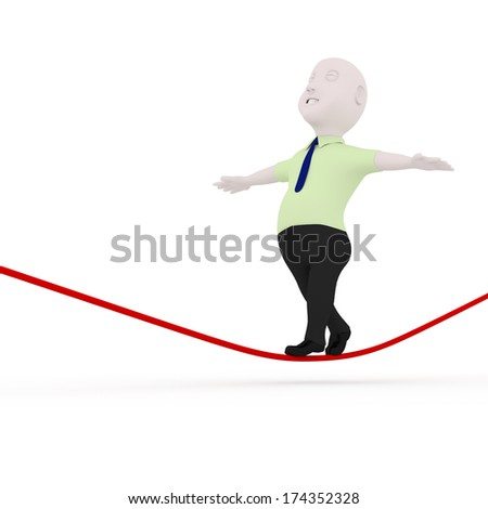 3d man walking on rope.