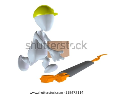 3d man walking on safe extension cord - stock photo