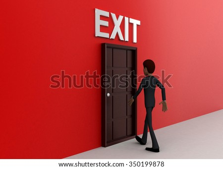 3d man walking towards door and EXIT written on top of it concept on white background - 3d rendering, side angle view - stock photo