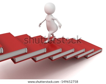 3d man walking up on the stairs of books ladder
