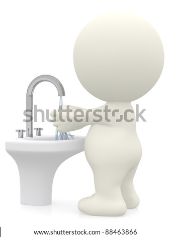 3D man washing his hands - isolated over a white background - stock photo