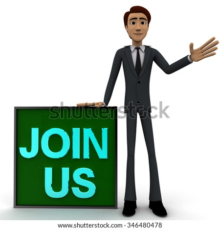 3d man wave one hand and with blue JOIN US text on board concept on white  front angle view - stock photo