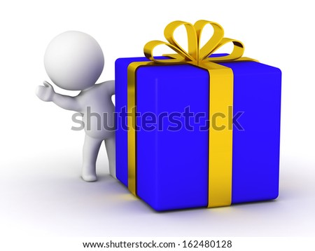 3D Man waving from behind large wrapped gift - stock photo