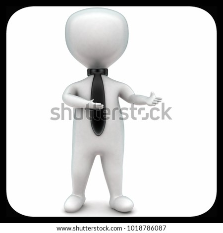 3d man wearing tie and explaining concept in white isolated background , front angle view