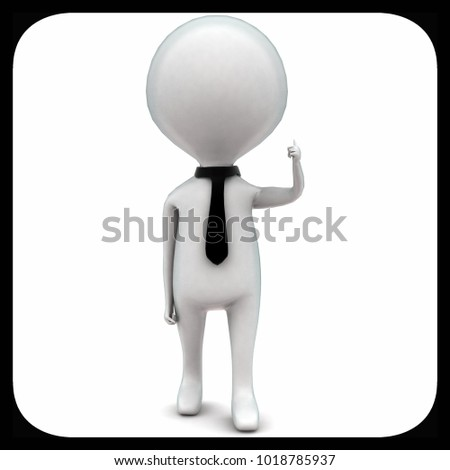 3d man wearing tie and giving thumbs up gesture concept in white isolated background - 3d rendering ,  front angle view
