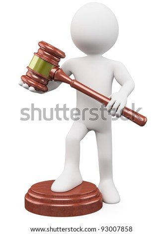 3D man with a auction hammer. Rendered at high resolution on a white background with diffuse shadows. - stock photo