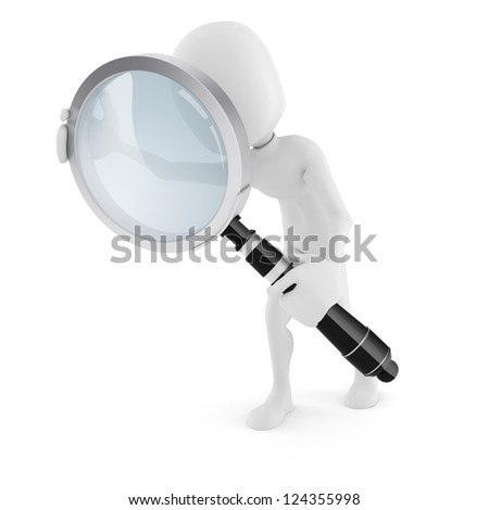 3d man with a big magnifying glass, on white background - stock photo