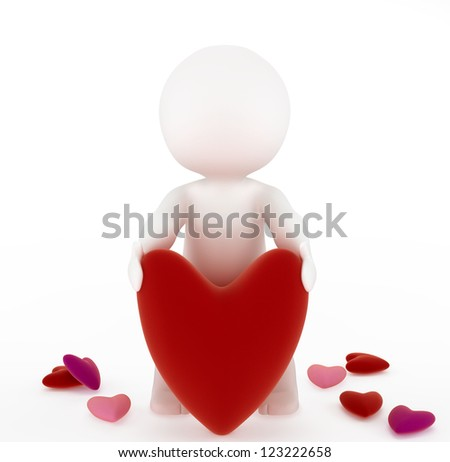 3d man with a big red velvet heart. Isolated on white background - stock photo