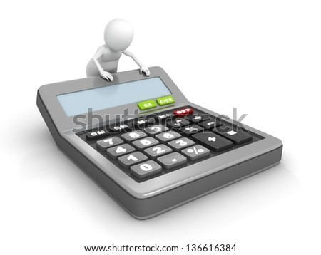 3d man with a classic office calculator - stock photo