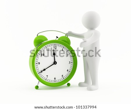 3D man with a giant green alarm clock - stock photo