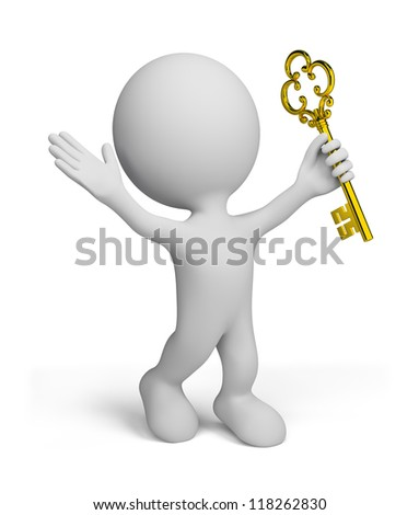 3d man with a gold key. 3d image. Isolated white background.