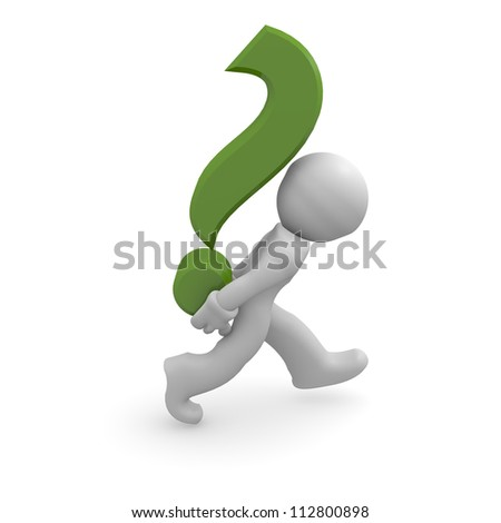 3d man with a green question mark - stock photo