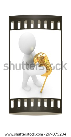 3D man with a microphone on a white background. The film strip - stock photo