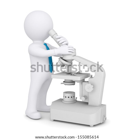 3d man with a microscope. Isolated render on a white background - stock photo
