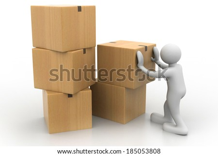3d man with a pile of cardboard boxes	 - stock photo