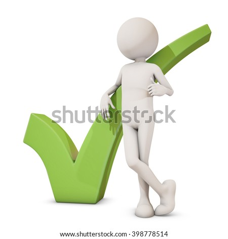 3D man with a positive sign and thumb up