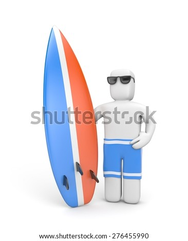 3D Man with a surfboard - stock photo