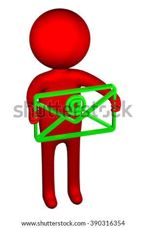 3D man with an envelope, isolated on white background. - stock photo
