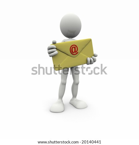3d man with big envelope