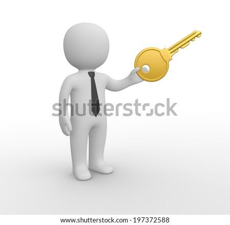 3d man with big key - stock photo