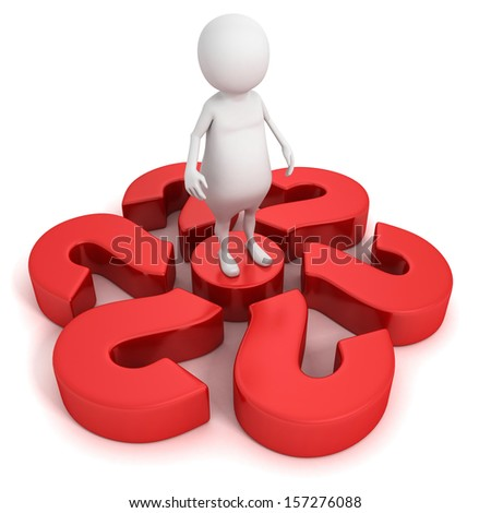 3d man with big red question marks