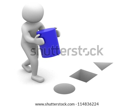 3d man with blue cylinder - 3d render - stock photo