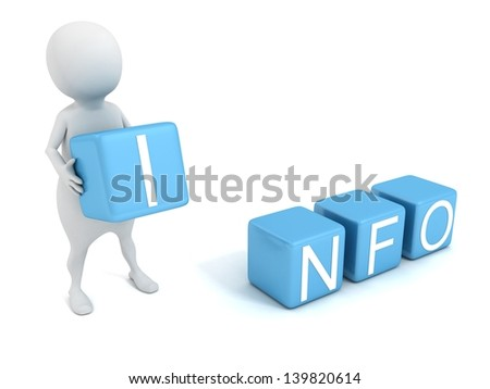 3d man with blue INFO letter toy blocks