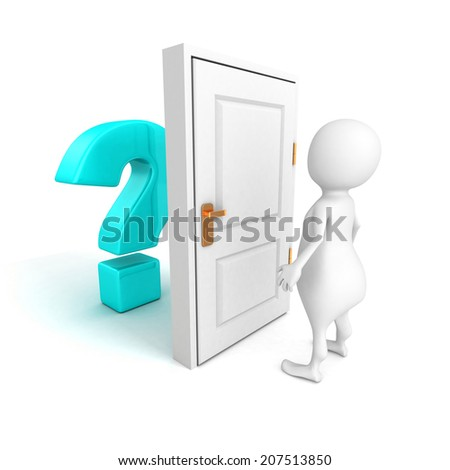 3d man with blue question mark behind door. 3d render illustration - stock photo