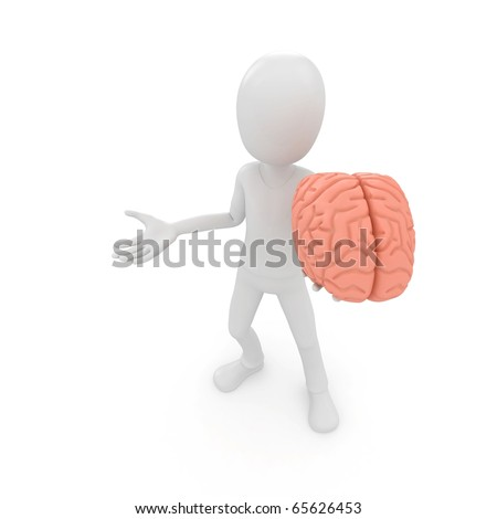3d man with brain model isolated on white - stock photo