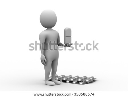3d man with capsule strip - stock photo