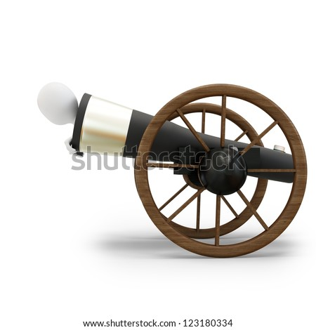 3d man with circus cannonball on white background - stock photo