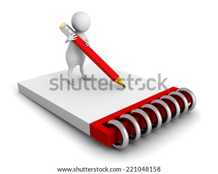 3d man with clipboard and pencil on white background. 3d render illustration - stock photo
