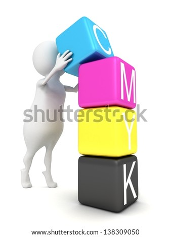 3d man with cmyk toy blocks tower - stock photo