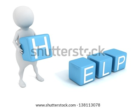 3d man with concept HELP text blue toy blocks