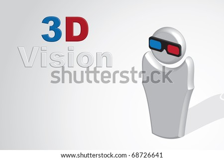 3d man with 3d glasses - stock photo