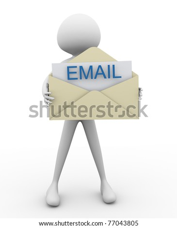 3d man with email envelop - stock photo