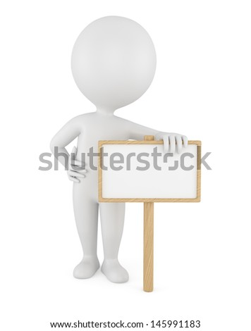 3d man with empty board isolated on white background.