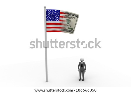 3d man with flag - stock photo