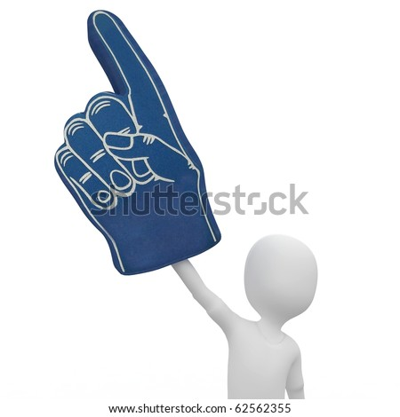3d man with foam finger isolated on white - stock photo