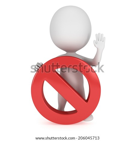 3D man with forbidden sign. No symbol. Prohibition. 3D render isolated on white