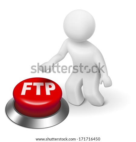 3d man with FTP ( File transfer Protocol ) button isolated white background - stock photo