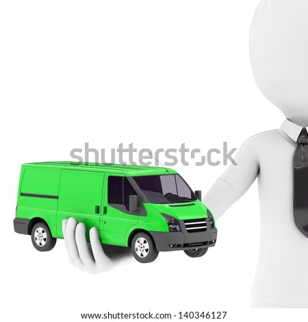 3d man with generic toy van isolated on white background