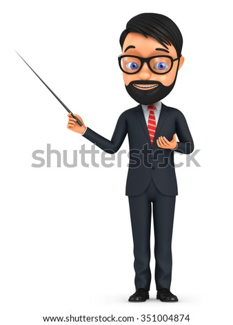 3d man with glasses holding pointer isolated on white background