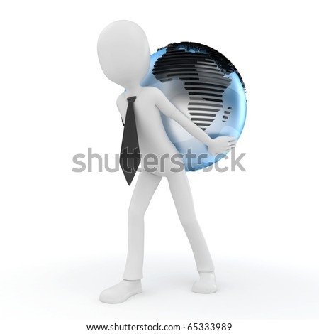3d man with globe isolated on white