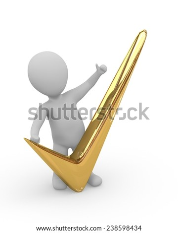 3d man with gold checkmark on white - stock photo